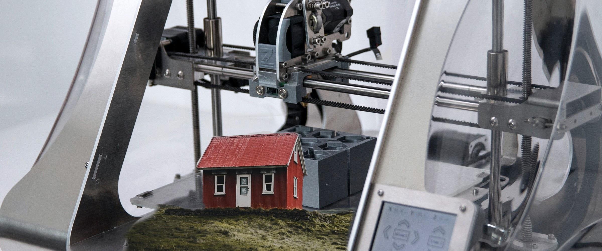 3D Printer printing a home