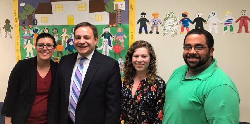 (Pictured left to right: CFAR Executive Director, Jordan Brogan; Pennsylvania State Senator John Sabatina, Jr.; and CFAR therapists Olivia Dobson and Allen Lewis)