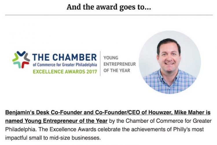 Mike Maher Mamed Young Entrepreneur of the Year